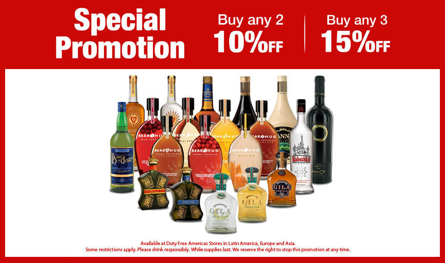 Special Promotion - Buy Any 2 10% Off |Buy Any 3 15% Off - Promotion available at Duty Free Americas Latin America & Asia Stores